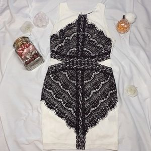 ARK&CO, white and black lace dress